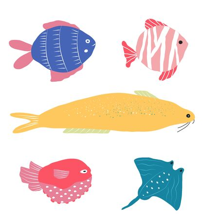 Underwater creature, collection of different fish isolated on white, marine animals for fabric, textile, wallpaper, nursery decor, prints, childish background. Vector