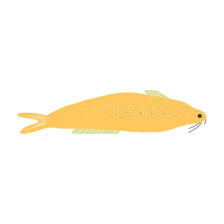 Underwater creature, yellow fish isolated on white, marine animals for fabric, textile, wallpaper, nursery decor, prints, childish background. Vector Ilustrace