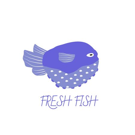 Underwater creature for logo, blue fish isolated on white, marine animals for fabric, textile, wallpaper, nursery decor, prints, childish background. Vector