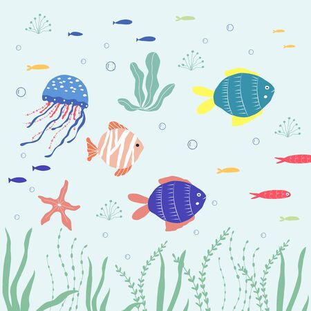 Underwater creatures  fish, jellyfish, clownfish, seaplants and corals, set with marine animals for fabric, textile, wallpaper, nursery decor, prints, childish background. Vector Иллюстрация