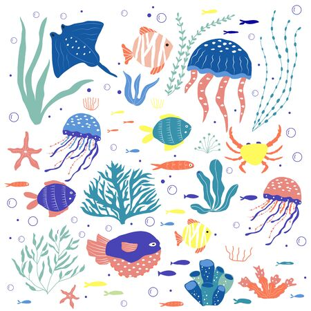 Underwater creatures  fish, jellyfish, crab, clownfish, seaplants and corals, set with marine animals for fabric, textile, wallpaper, nursery decor, prints, childish background. Vector Иллюстрация