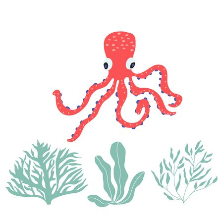 Underwater creatures octopus with seaplants and corals, set with marine animals for fabric, textile, wallpaper, nursery decor, prints, childish background. Vector