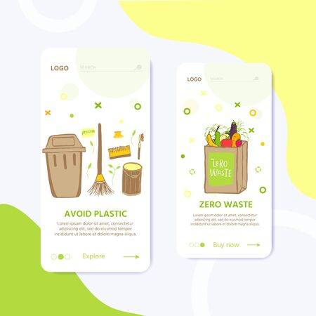 Template for web page with Zero waste concept. No plastic elements of eco life: reusable paper, wooden, fabric cotton bags. Vector go green, bio logo or sign. Organic design