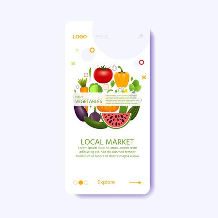 Landing page template for local market with set of realistic healthy vegetables  such as: carrot, tomato, pepper, eggplant, pumpkin. vector banner about diet, eco food
