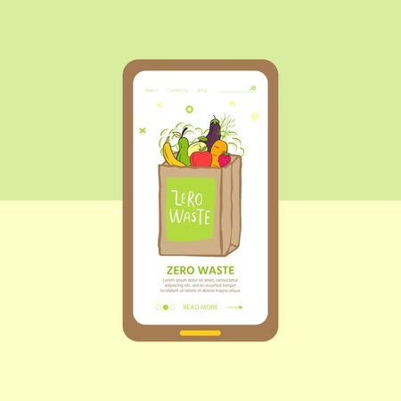Template for web page with Zero waste concept. No plastic elements of eco life: reusable paper, fabric cotton bags with vegetables. Vector go green, bio logo or sign. Organic design