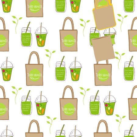 Template for seamless pattern with Zero waste concept. No plastic elements of eco life: reusable paper,  glass, jars. Vector go green, bio or sign. Organic design textile