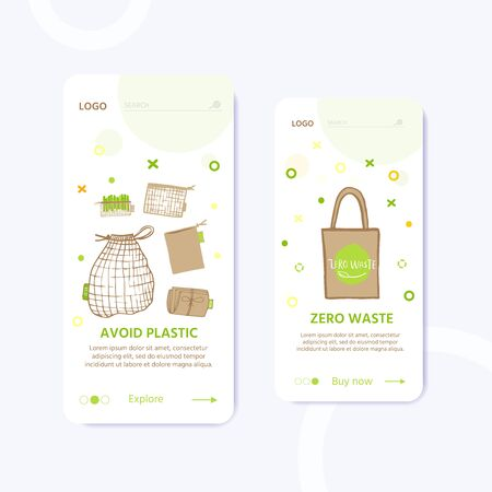 Template for web page with Zero waste concept. No plastic elements of eco life: reusable paper, wooden, fabric cotton bags. Vector go green, bio or sign. Organic design
