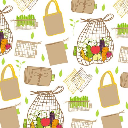 Template for seamless pattern with Zero waste concept. No plastic elements of eco life: reusable paper, wooden, fabric cotton bags. Vector go green, bio or sign. Organic design