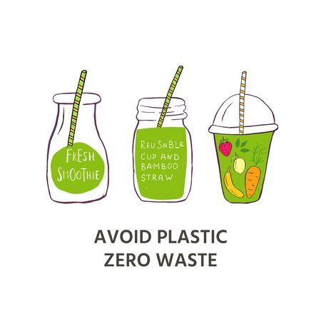 Template for web page with Zero waste concept. No plastic elements of eco life: reusable paper,  glass, jars. Vector go green, bio or sign. Organic design phone