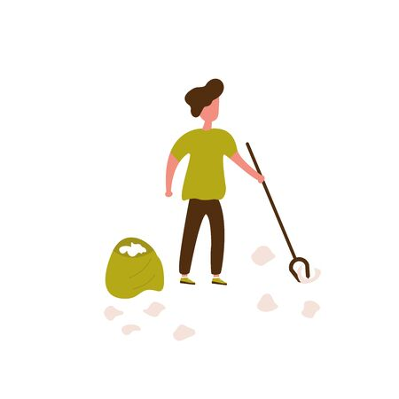 Volunteer young man is cleaning garbage on the city park, small people, children. Vector illustration of volunteering for Social workers concept. Banner template