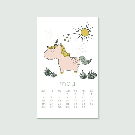 Cute design for calendar 2020, spring months with unicorn. Week starts on Sunday. Vertical editable calender page template can be used for web, banner, poster and printable graphic