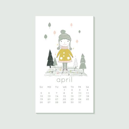 Cute design for calendar 2020, spring months with girl and trees. Week starts on Sunday. Vertical editable calender page template can be used for web, banner, poster and printable graphic