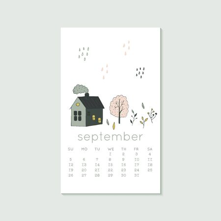 Cute design for calendar 2020, autumn months with house and tree. Week starts on Sunday. Vertical editable calender page template can be used for web, banner, poster and printable graphic Illustration
