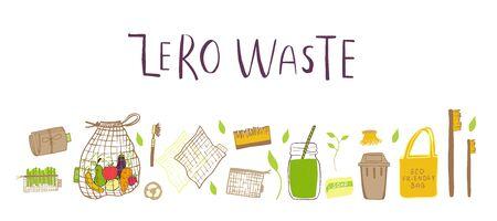 Handgezeichneter Zero Waste Konzeptsatz. Keine Plastikelemente des Ökolebens: wiederverwendbares Papier, Bambus, Holz, Stoff-Baumwollbeutel, Glas, Gläser, Besteck. Vektor wird grün, Bio-Logo oder Zeichen. Organische Designvorlage
