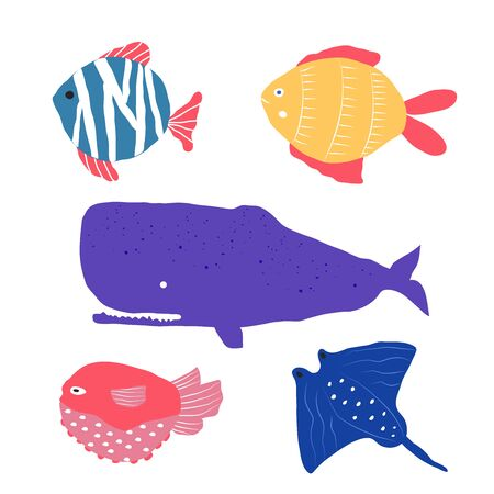 Underwater creatures different type of  fish, jellyfish, clownfish, set with marine animals for fabric, textile, wallpaper, nursery decor, prints, childish background. Vector 向量圖像