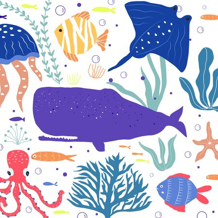 Underwater creatures  fish, jellyfish, octopus, clownfish, seaplants and corals, set with marine animals for fabric, textile, wallpaper, nursery decor, prints, childish background. Vector