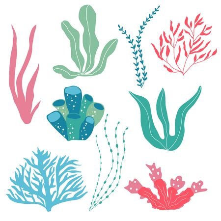Underwater plants,  seaplants and corals, set for fabric, textile, wallpaper, nursery decor, prints, childish background. Vector