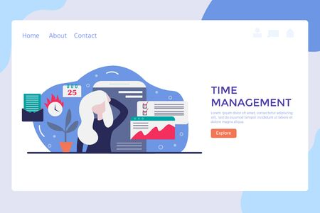 Vector concept of work time management with character, alarm clock, business task planning, schedule checkpoints, planner. Illustration can be used for web banner, infographics, presentations Banco de Imagens - 138265871