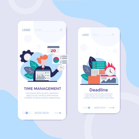 Vector concept of work time management with character, alarm clock, business task planning, schedule checkpoints, planner. Illustration can be used for web banner, infographics, presentations Banco de Imagens - 138258067