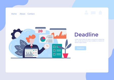 Vector concept of work time management with character, alarm clock, business task planning, schedule checkpoints, planner. Illustration can be used for web banner, infographics, presentations Banco de Imagens - 138265872