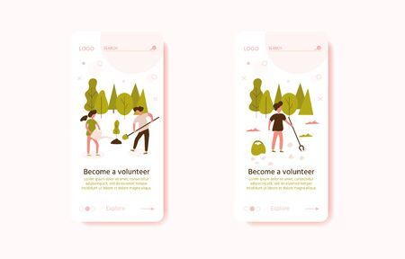 Volunteer team of young man and woman are planting tree on the city park, small people. Vector illustration of volunteering for Social workers concept. Banner template