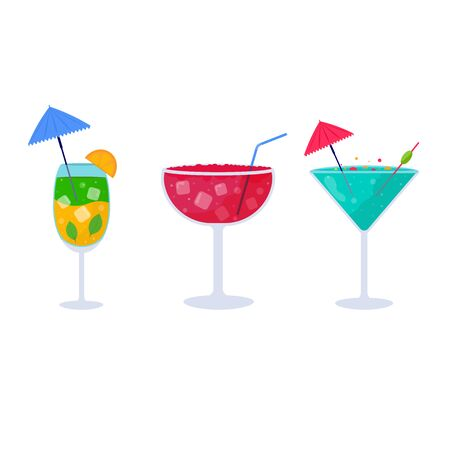 Set of Tropical cocktails. Alcoholic summer drinks in glasses, mojito, vodka, sambuca, martini, juices, bloody mary. Holiday and beach party concept for party invitation, bar menu. Vector illustration