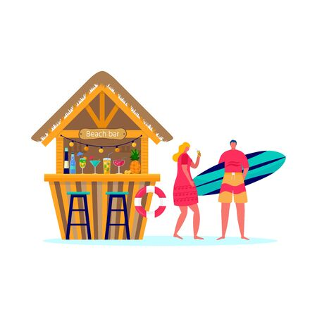 Set of people surfing in beachwear with surfboards. Young women amd men enjoying vacation on the sea, ocean, beach bar. Concept of summer sports and leisure outdoor activities, walking. Flat vector