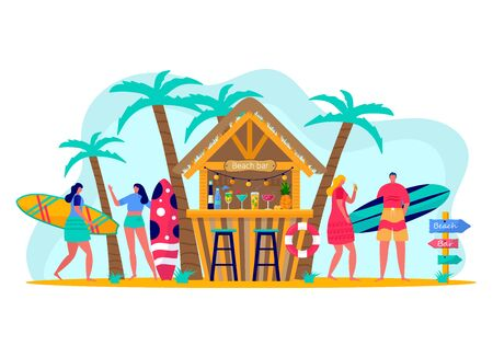 Concept of people surfing with surfboards. Young women amd men enjoying vacation on the sea, ocean, beach bar. Concept of summer sports and leisure outdoor activities, walking. Flat vector Vector Illustration