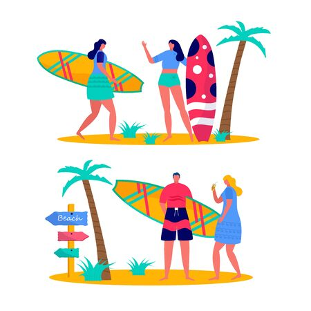 People surfing in beachwear with surfboards. Young women amd men enjoying vacation on the sea, ocean. Concept of summer sports and leisure outdoor activities isolated on white background . Flat vector Vector Illustration