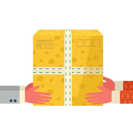Online delivery service concept. Courier hands holds package, parcel and give it to customer. Order tracking the postal cardboard box. Delivery to home and office. Vector, flat design.