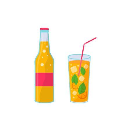 Tropical cocktails. Alcoholic summer drinks in glasses on the beach, mojito, vodka, sambuca, martini, juices, lemonade. Holiday concept for party invitation, bar menu. Vector illustration Ilustração