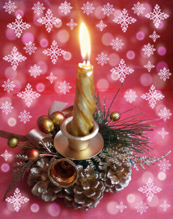 celebratory: On a red celebratory background with snowflakes the decorative candle burns.On a background there are different snowflakes and effect bokeh.