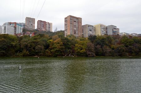 Dull and bleak view of old multi-story houses, glum sky, autumn forest and the lake