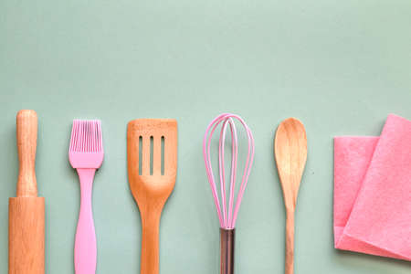 Kitchen utensils for bakery with copy space