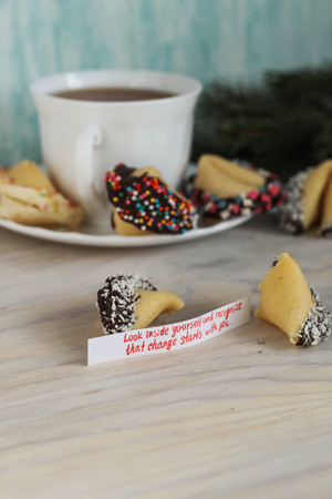 look inside: Fortune cookies decorated with chocolate look inside yourself and recognize that change starts with you