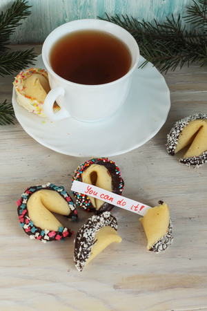 Fortune cookies decorated with chocolate you can do it