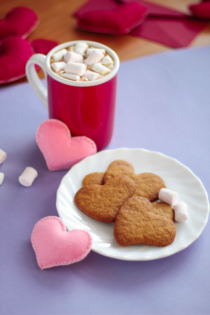 hot day: heart gingerbread cookies and a mug of hot chocolate with marshmallows valentines day
