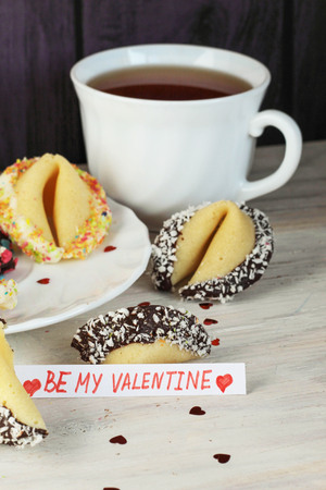 Fortune cookies decorated with chocolate and white coconutand colorful sprinkles with blank be my valentine on the table