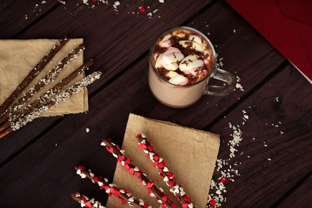 hot day: Valentines Day hot chocolate with marshmallows and dessert chocolate sticks valentines day romantic background