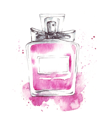 Perfume bottle pink glass fragrance watercolor illustration, fashion sketch, art print 版權商用圖片