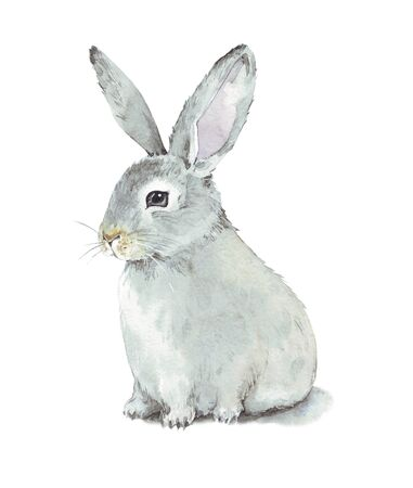 Hand drawn watercolor illustration about cute bunny. Card for Happy Easter.