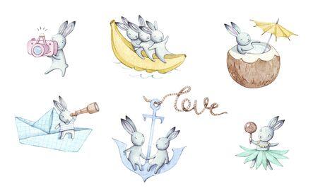 Beautiful holiday set of cute cartoons watercolor bunnies. Hand drawn illustration. Stock fotó