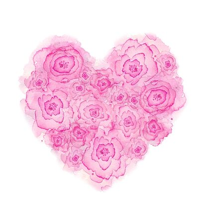 Beautiful flowers heart with  roses.   illustration. Stock Photo