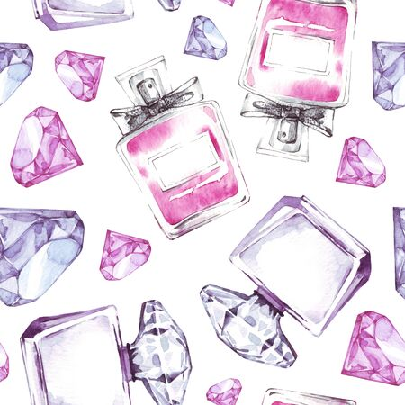 Beautiful seamless pattern with watercolor perfumes. Fashion aroma design. Beauty cosmetic texture.