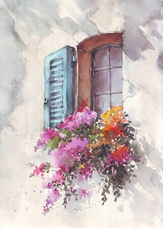 Hand drawn watercolor illustration of vintage window with flowers at Provance. Old window with pot flowers and blue shutters. Imagens