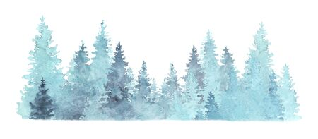 Beautiful watercolor coniferous forest illustration, Christmas fir trees, winter nature, holiday background, conifer, snow, outdoor, snowy rural landscape.