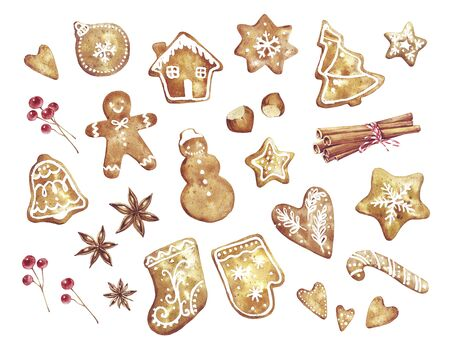 Gingerbread Watercolor hand drawn traditional cookies with icing sugar, gingerbread man, star, tree, ball, bell, heart, berries, cinnamon, nuts and ect. Elements for holiday, cards, wrapping paper.