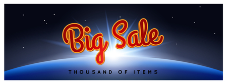 aureole: Big Sale Poster. Vector illustration of the Big Sale rising over Earth with the big starry sky and rays of light on the background. Panorama, banner. Modern style.