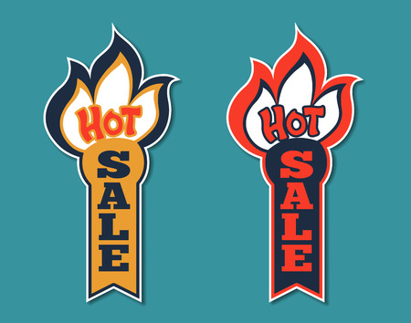 shadow match: Hot Sale Stickers shaped as Burning Match. Vector labels, emblems isolated with shadow on the background. Good for a variety of color painting. Modern 3d style. Illustration