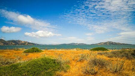 alcatraz: Beach at Presidio Alcatraz Island San Francisco Bay Stock Photo